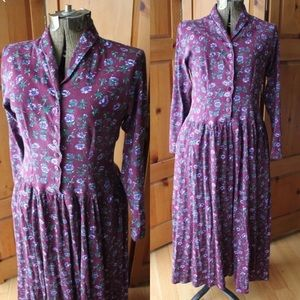 Vtg Grunge Purple Floral Cotton Long Maxi Dress
